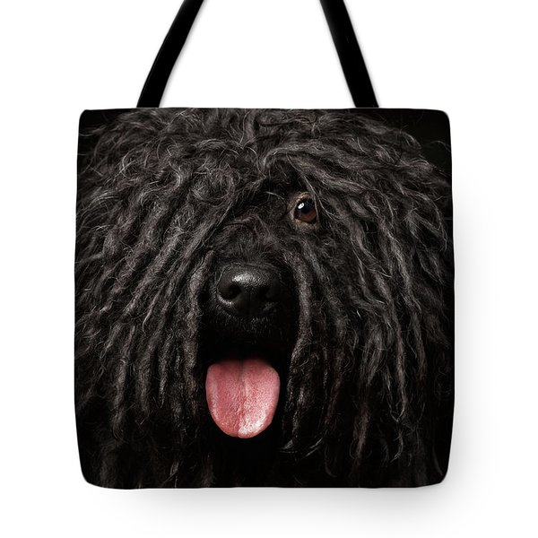 Close Up Portrait Of Puli Dog Isolated On Black Tote Bag by Sergey Taran