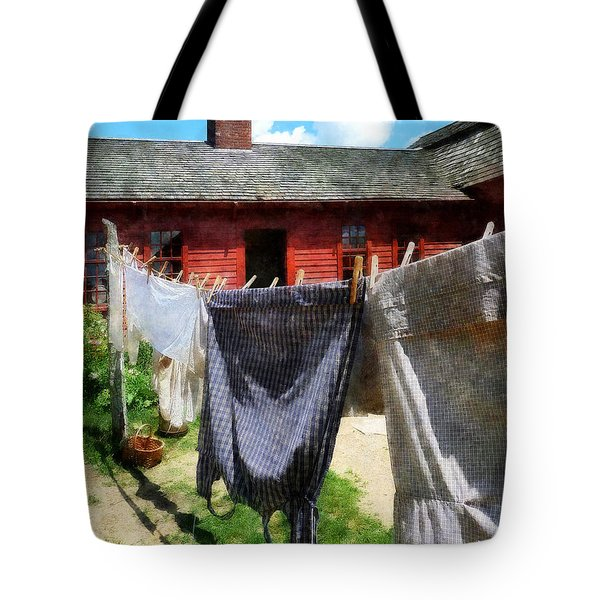 Clothes Hanging On Line Closeup Tote Bag by Susan Savad