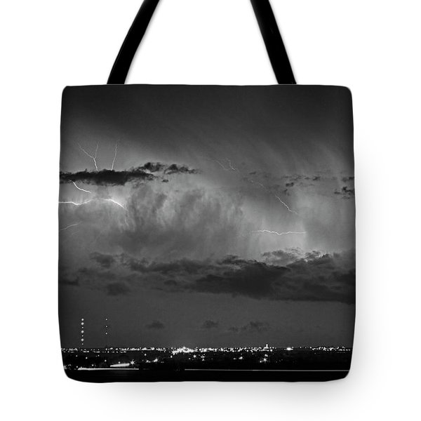 Cloud To Cloud Lightning Boulder County Colorado Bw Tote Bag by James BO  Insogna