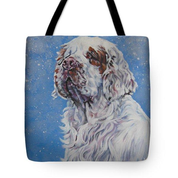 Clumber Spaniel in Snow Tote Bag by Lee Ann Shepard