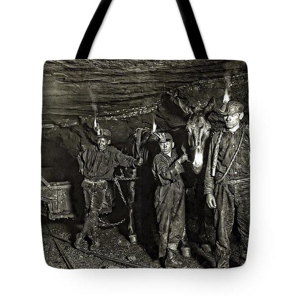 Coal Mine Mule Drivers  1908 Tote Bag by Daniel Hagerman