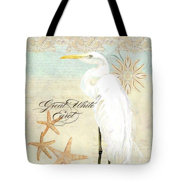 Coastal Waterways - Great White Egret 3 Tote Bag by Audrey Jeanne Roberts