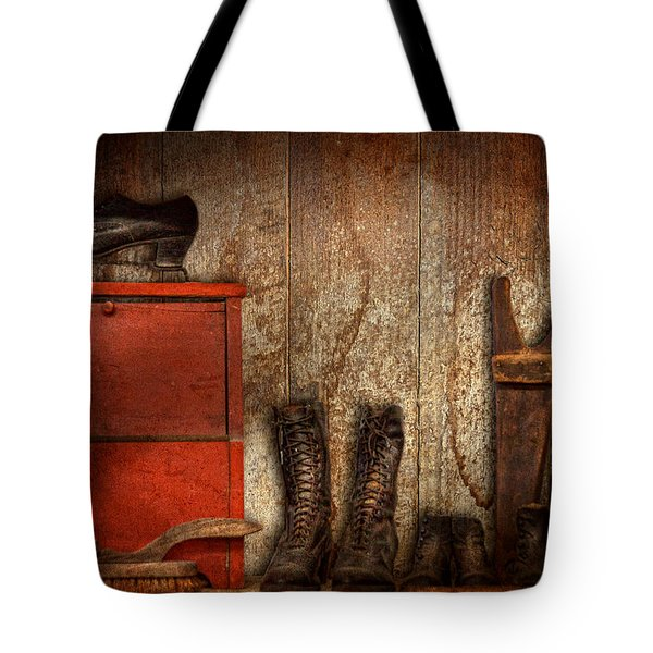Cobbler - The Shoe Shiner 1900  Tote Bag by Mike Savad