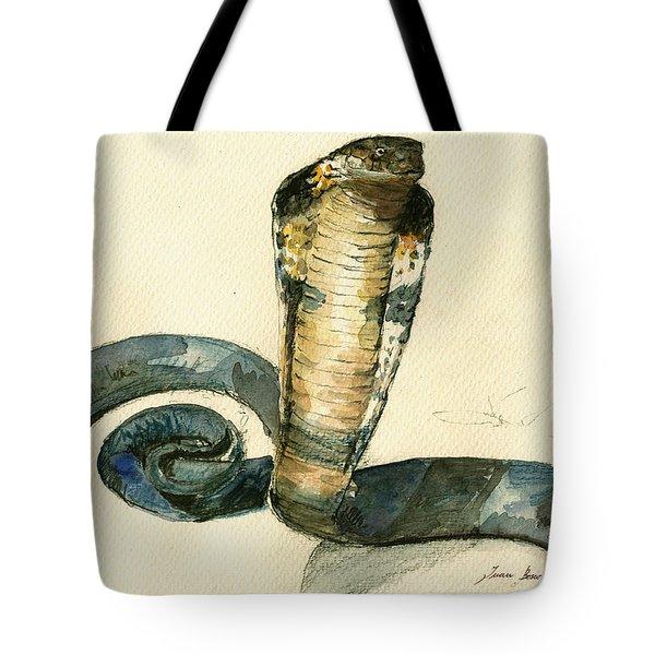 Cobra Snake Watercolor Painting Art Wall Tote Bag by Juan  Bosco