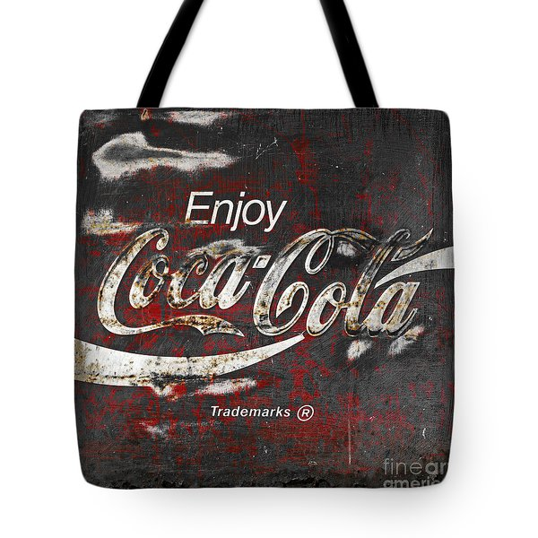 Coca Cola Grunge Sign Tote Bag by John Stephens