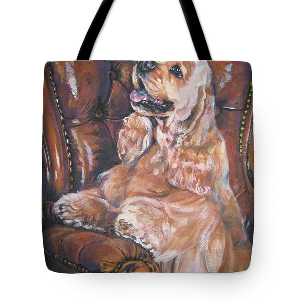 Cocker Spaniel on chair Tote Bag by L A Shepard