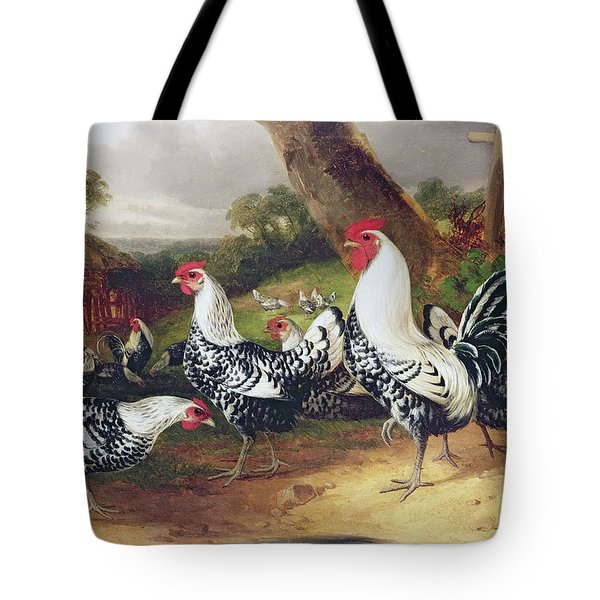 Cockerels In A Landscape Tote Bag by William Joseph Shayer