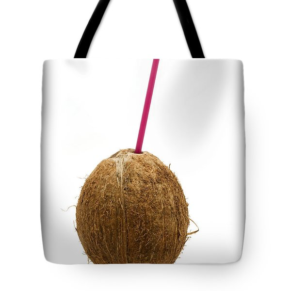 Coconut with a straw Tote Bag by Fabrizio Troiani