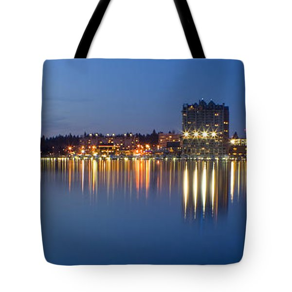 Coeur D Alene Night Skyline Tote Bag by Idaho Scenic Images Linda Lantzy