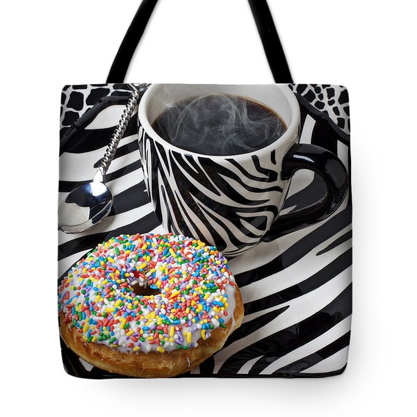 Coffee and donut on striped plate Tote Bag by Garry Gay