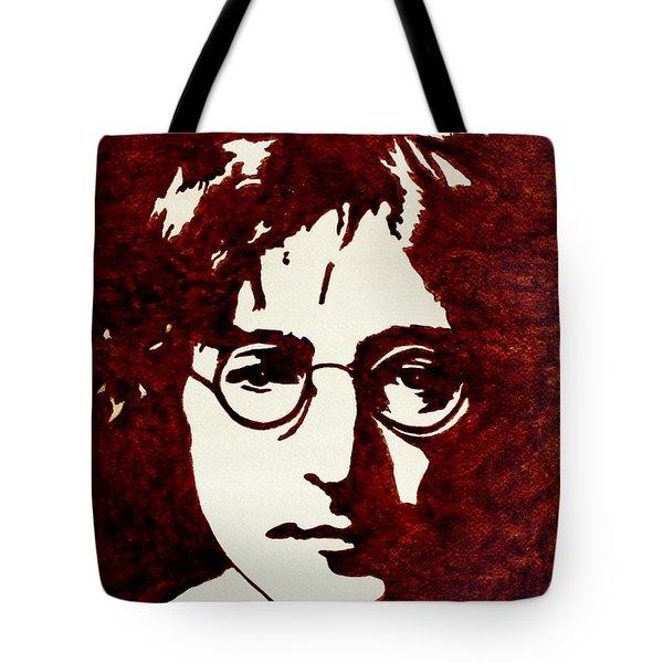 Coffee Painting John Lennon Tote Bag by Georgeta  Blanaru