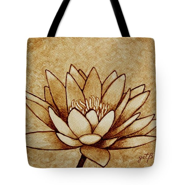 Coffee Painting Water Lilly Blooming Tote Bag by Georgeta  Blanaru