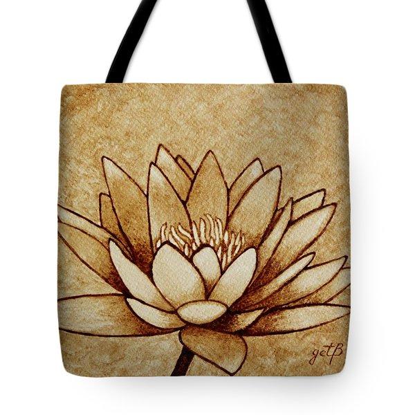 Coffee painting Water Lilly Blooming Tote Bag by Georgeta  Blanaru