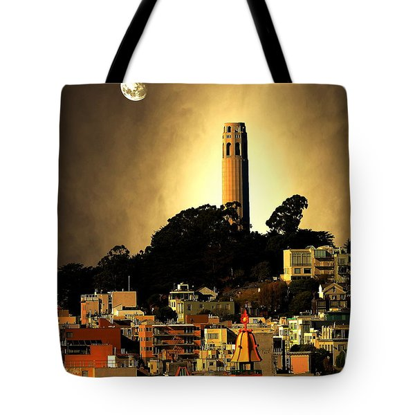 Coit Tower And The Empress Of China Under The Golden Moonlight Tote Bag by Wingsdomain Art and Photography