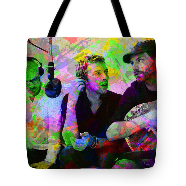 Coldplay Band Portrait Paint Splatters Pop Art Tote Bag by Design Turnpike