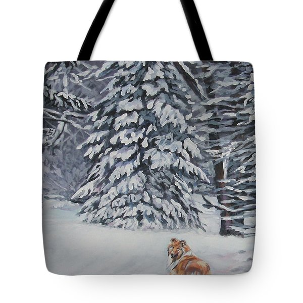 Collie Sable Christmas Tree Tote Bag by L A Shepard