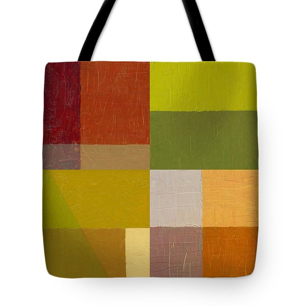 Color Study With Orange And Green Tote Bag by Michelle Calkins
