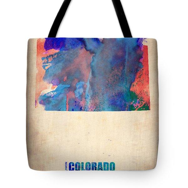 Colorado Watercolor Map Tote Bag by Naxart Studio