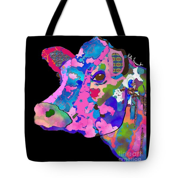 Colorful Bessie The Cow Tote Bag by Kate Farrant