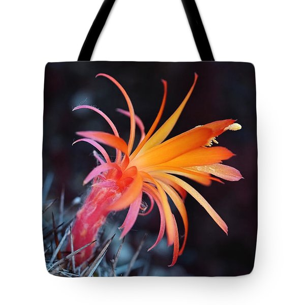 Colorful Cactus Flower Tote Bag by Rona Black