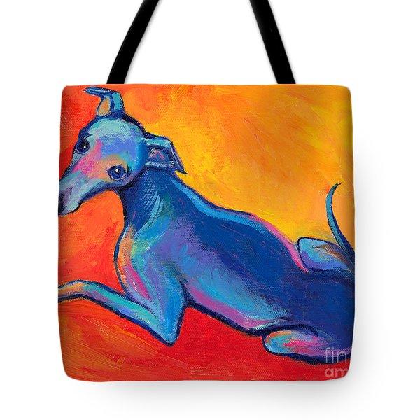 Colorful Greyhound Whippet dog painting Tote Bag by Svetlana Novikova