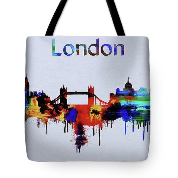 Colorful London Skyline Silhouette Tote Bag by Dan Sproul