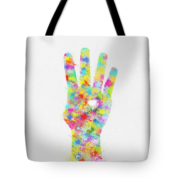 Colorful Painting Of Hand Pointing Four Finger Tote Bag by Setsiri Silapasuwanchai