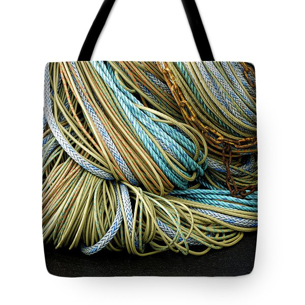 Colorful Pile Of Fishing Nets And Ropes Tote Bag by Carol Leigh