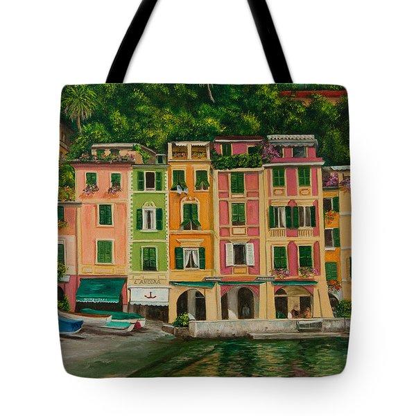 Colorful Portofino Tote Bag by Charlotte Blanchard