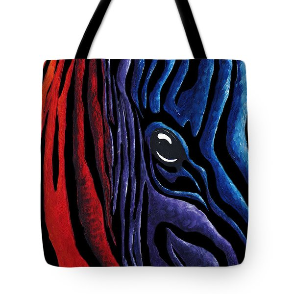 Colorful Stripes Original Zebra Painting By Madart In Black Tote Bag by Megan Duncanson