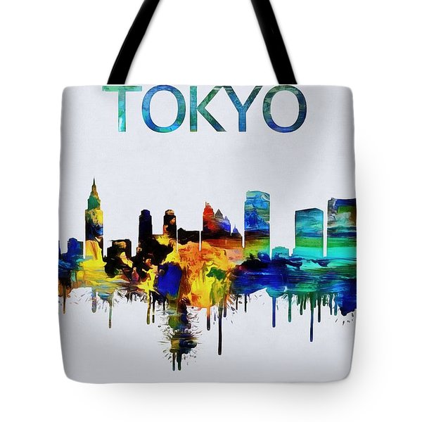 Colorful Tokyo Skyline Silhouette Tote Bag by Dan Sproul