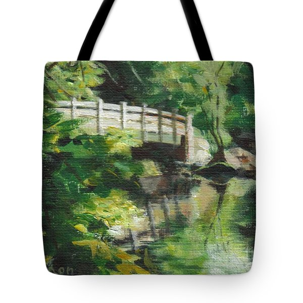 Concord River Bridge Tote Bag by Claire Gagnon