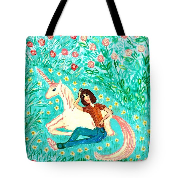 Conversation With A Unicorn Tote Bag by Sushila Burgess
