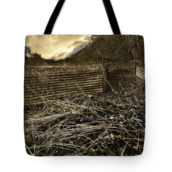 corrugated tin pen Tote Bag by Meirion Matthias