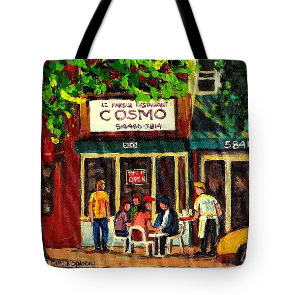 Cosmos Famous Montreal Breakfast Restaurant Tote Bag by Carole Spandau