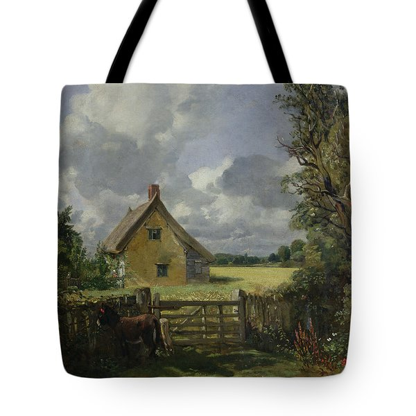 Cottage In A Cornfield Tote Bag by John Constable