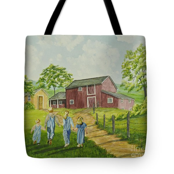 Country Kids Tote Bag by Charlotte Blanchard
