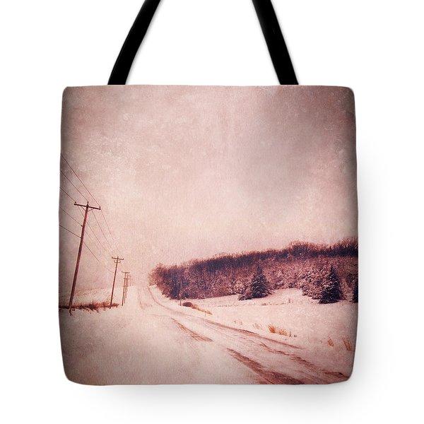 Country Road In Snow Tote Bag by Jill Battaglia