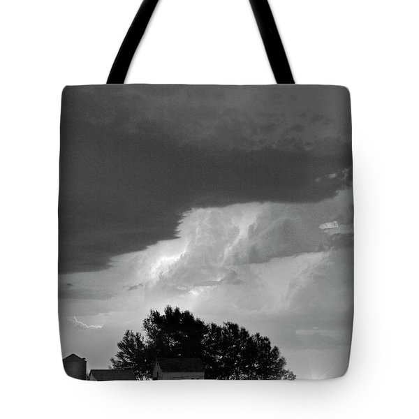 County Line Northern Colorado Lightning Storm Bw Tote Bag by James BO  Insogna