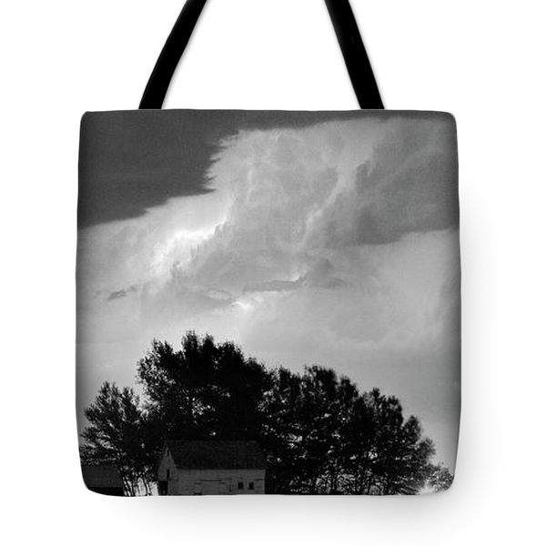 County Line Northern Colorado Lightning Storm BW Pano Tote Bag by James BO  Insogna