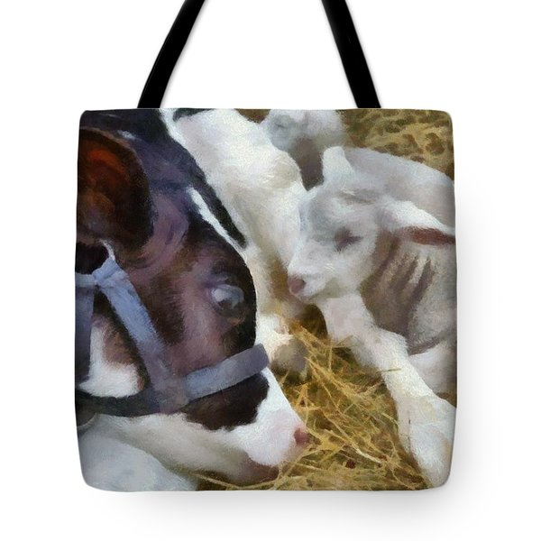 Cow And Lambs Tote Bag by Michelle Calkins