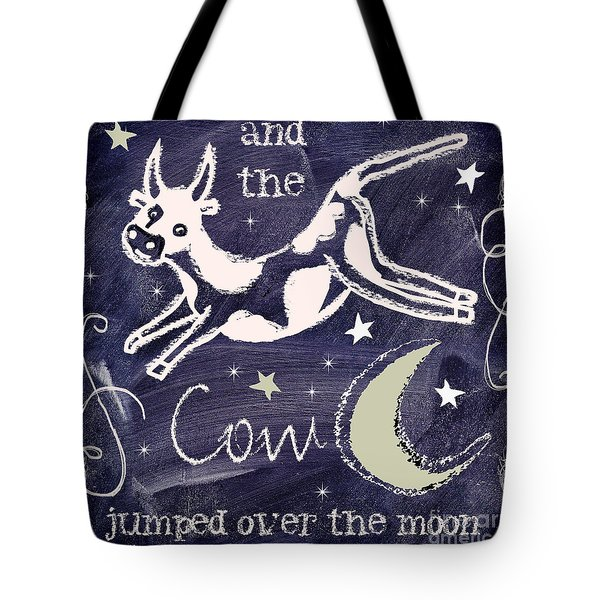 Cow Jumped Over The Moon Chalkboard Art Tote Bag by Mindy Sommers