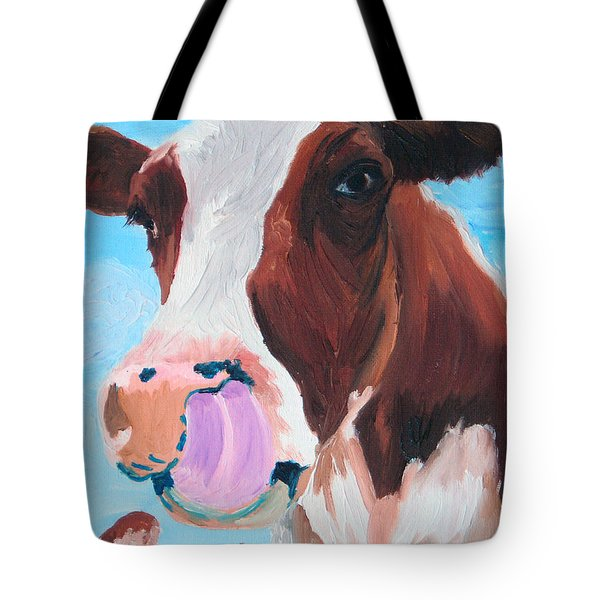 Cow Picking His Nose Tote Bag by Michael Lee