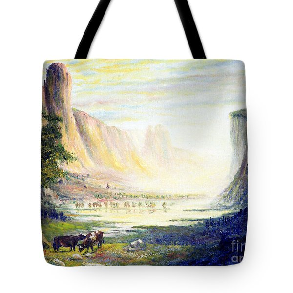 Cows In The Mountain Tote Bag by Wingsdomain Art and Photography