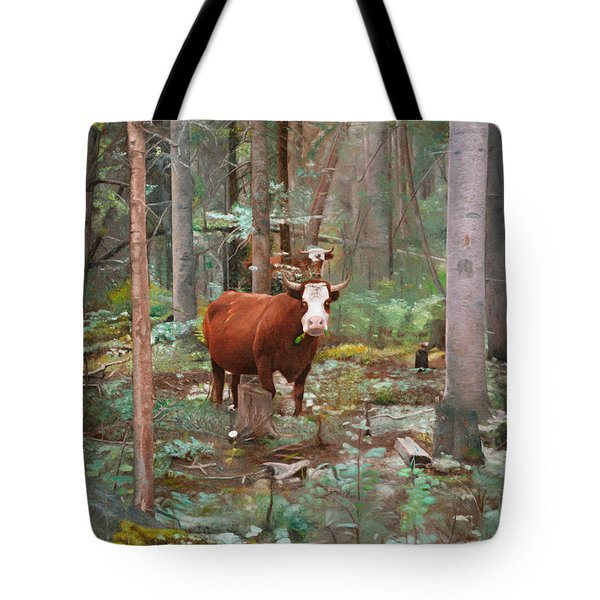 Cows In The Woods Tote Bag by Joshua Martin