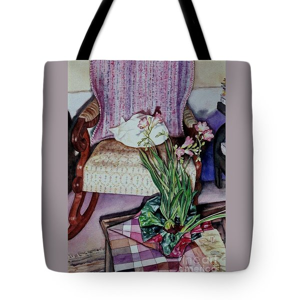 Cozy Kitty Tote Bag by Cynthia Pride