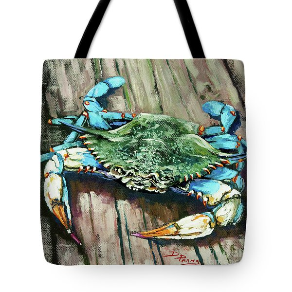 Crabby Blue Tote Bag by Dianne Parks