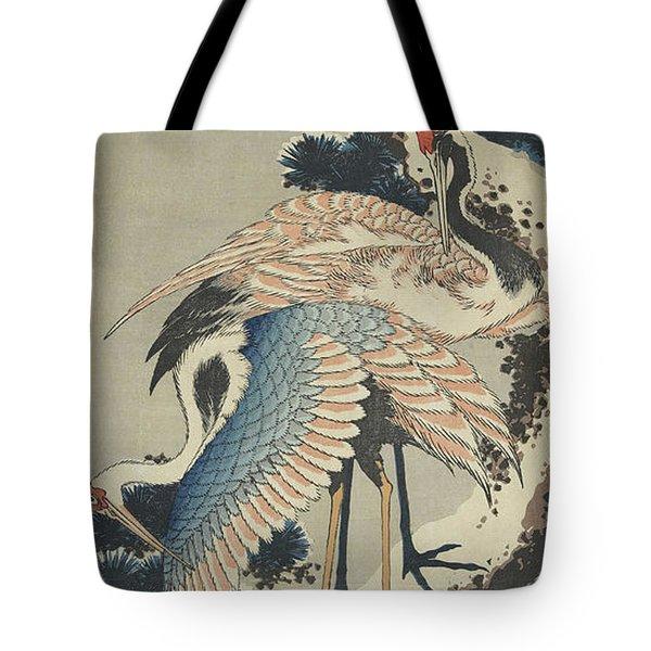 Cranes On Pine Tote Bag by Hokusai
