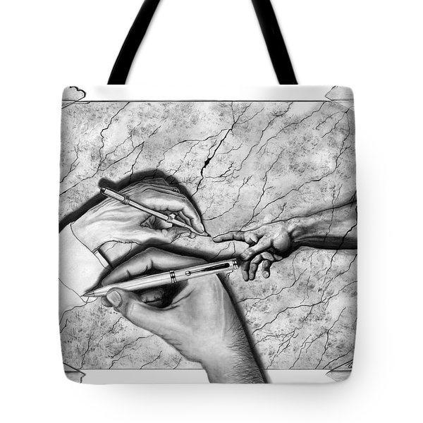 Creators Hand At Work Tote Bag by Peter Piatt