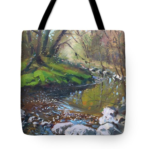 Creek in the Woods Tote Bag by Ylli Haruni